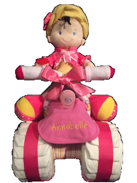 Quatre roues avec poupée fille